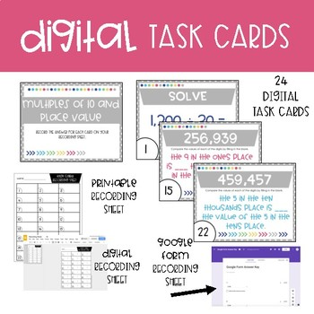 Fourth Grade Math Task Cards ~ Multiples of 10 and Place Value