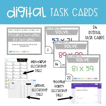 Fourth Grade Math Task Cards ~ Multiply Two-Digits by Two-Digits