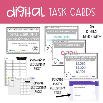 Fourth Grade Math Task Cards ~ Read, Write, and Compare Numbers