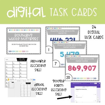 Fourth Grade Math Task Cards ~ Rounding Whole Numbers
