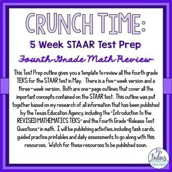 Fourth Grade Math Test Prep: STAAR Assessment CRUNCH TIME Five week Outline