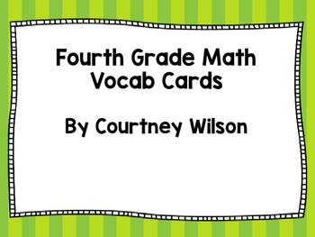 Fourth Grade Math Vocabulary Cards