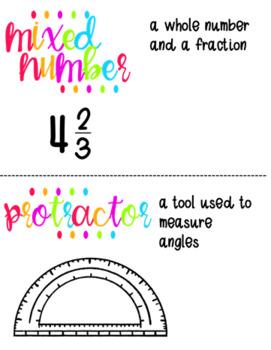 Fourth Grade Math Vocabulary Display Cards