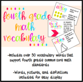Fourth Grade Math Vocabulary Display Cards