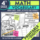 Math Vocabulary Games, Cards, Journals and More for 4th Grade