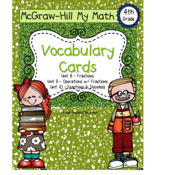 Fourth-Grade Math Vocabulary {My Math Series - Units 8, 9, & 10}{CCSS aligned}