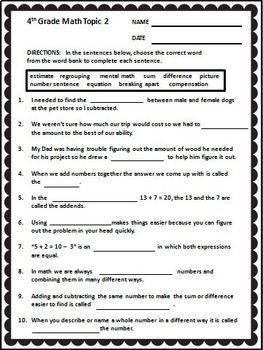 enVision Math 4th Grade ~ Math Vocabulary Worksheets Full Year | TpT