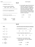 Fourth Grade Math Warm-Ups, Fourth Quarter