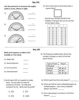 Fourth Grade Math Warm-Ups, Fourth Quarter
