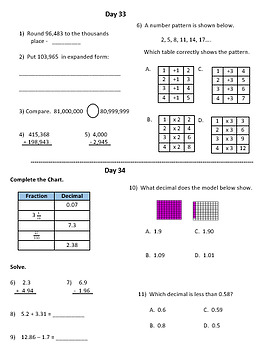 Fourth Grade Math Warm Ups - Second Quarter