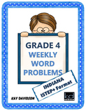 Fourth Grade Math: Weekly Word Problems and INDIANA Math Standards