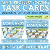 Fourth Grade Math Word Problem Task Cards | PRINTABLE & DI