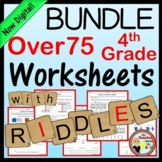Fourth Grade Math Worksheets w/ Riddles GROWING BUNDLE