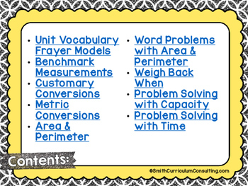 Fourth Grade Math Measurement Interactive Notebook