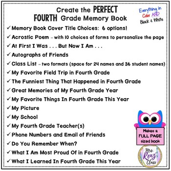 4th Grade End of the Year Memory Book - Full Page - Owl Theme