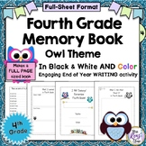 Fourth Grade Memory Book - 4th Grade End of the Year Memory Book - Full Pg Owl