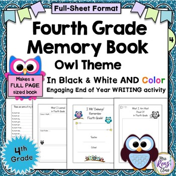 Fourth Grade Memory Book (Full Page Size in color AND Blac