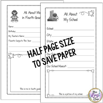 Tales of a Fourth Grade Someone Memory Book (Half Sheet Format)