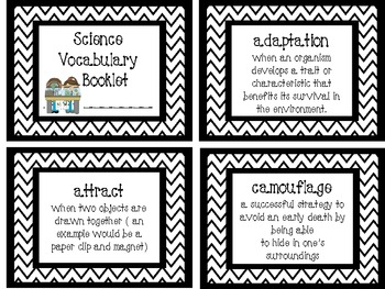 Fourth Grade Mini Science Vocabulary Booklet/Cards