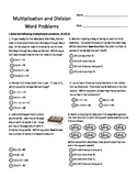 Fourth Grade Multiplication and Division Test
