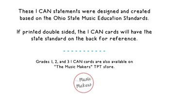 "Fourth Grade Music ""I CAN"" Statements"