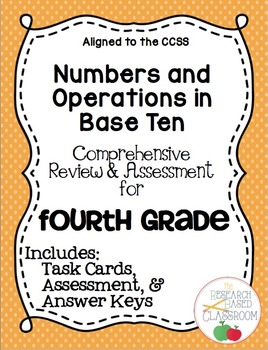 Fourth Grade NBT Task Cards and Assessment