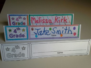 Fourth Grade Name Cards Foldable and Standable
