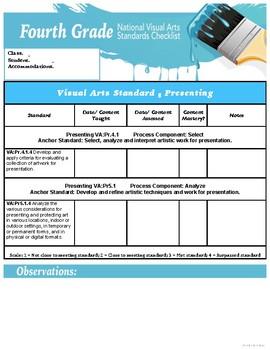 Fourth Grade National Core Art Standards Assessment Checklists
