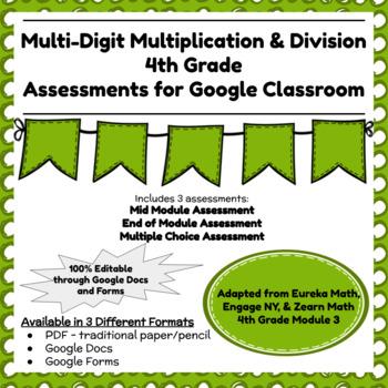 Fourth Grade Math Assessment/Test Prep (Multi-Digit Multiplication & Division)