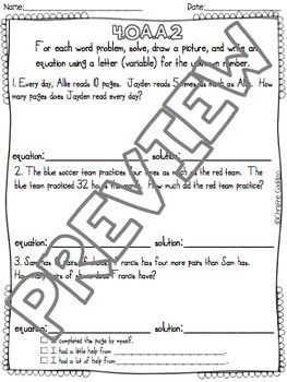 Math Assessments Fourth Grade Algebra