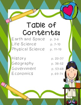Fourth Grade Ohio Content Standard Exit Slips for Science and Social Studies