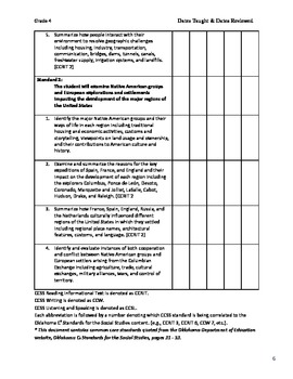 Fourth Grade Oklahoma C3 Social Studies Standards in checklist format