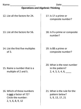 Fourth Grade Operations and Algebraic Thinking Assessment (Common Core Aligned)