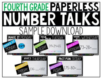 Fourth Grade PAPERLESS Number Talk Sample Week