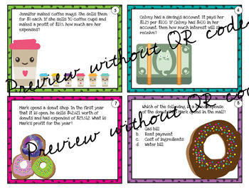 Fourth Grade Personal Financial Literacy Teks 4.10 with or w/o QR codes