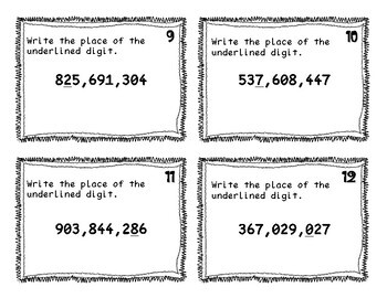 Fourth Grade Place Value Task Cards