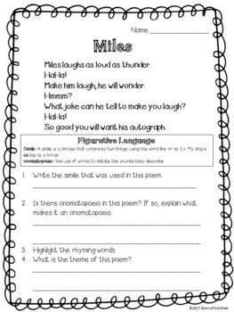 Fourth Grade Poetry Packet