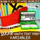 Fourth Grade Problems with Variables Math Test Prep Review