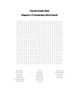 Fourth Grade Rats Ch. 1-3 Vocabulary Word Search - Spinelli