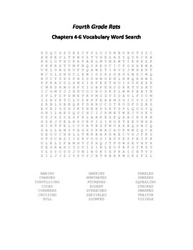 Fourth Grade Rats Ch. 4-6 Vocabulary Word Search - Spinelli