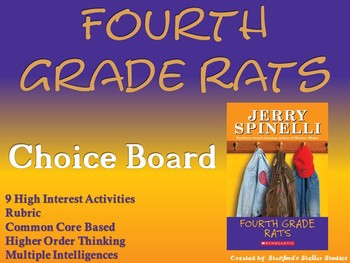 Fourth Grade Rats Choice Board Novel Study Activities Book Project Rubric