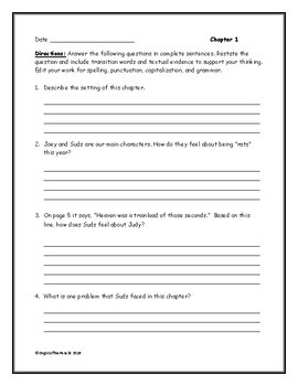 Fourth Grade Rats Jerry Spinelli Comprehension Questions