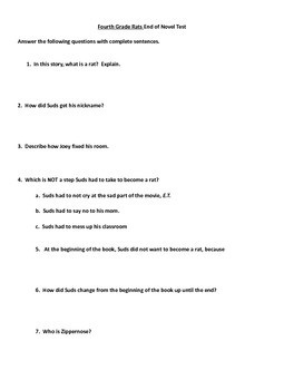 Fourth Grade Rats by Jerry Spinelli Novel Study Packet