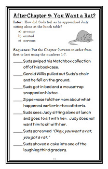 Fourth Grade Rats (Jerry Spinelli) Novel Study / Reading Comprehension
