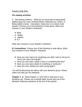 Fourth Grade Rats by Jerry Spinelli Literature Guide