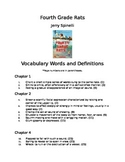 Fourth Grade Rats by Jerry Spinelli Vocabulary for Each Chapter