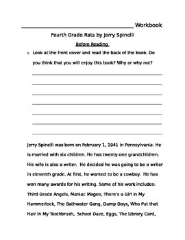 Fourth Grade Rats by Jerry Spinelli Workbook