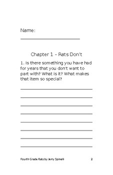 Fourth Grade Rats student packet