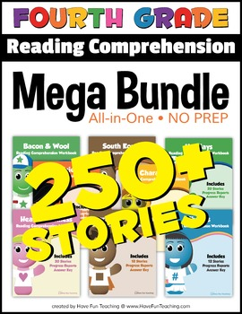 Fourth Grade Reading Comprehension NO-PREP ALL-IN-ONE MEGA BUNDLE (250+ STORIES)