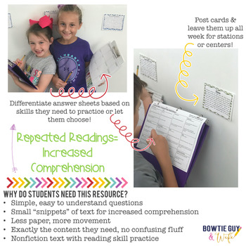 Social Studies Nonfiction Reading Fluency & Comprehension Task Card Activities